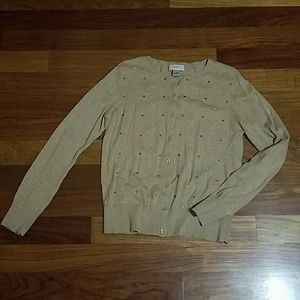 Tan sweater with pearl and gems